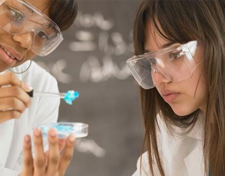 Girls Experimenting in Lab