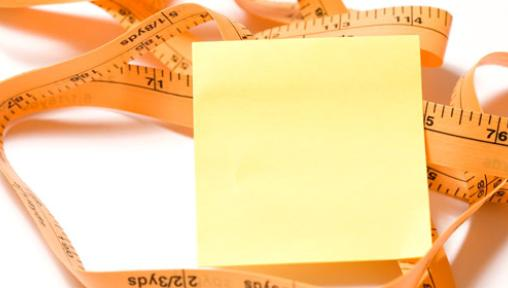 post-it note and measuring tape