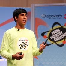 Anish presents his innovation to the judges