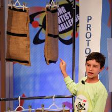 Peyton presents his innovation to the judges