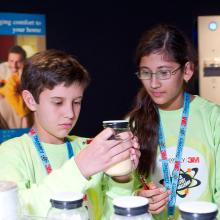 Peyton and Aishani check out some 3M innovations